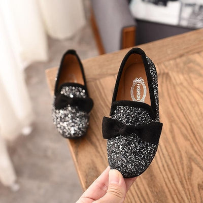 New Spring Girls Leather Shoes For Children's Fashion Princess Bow Sequin Casual Shoes Girls Soft Bottom Flowers Princess Shoes - ibootskids