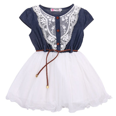 Princess Girls Baby Kids Lace Belt Denim Tulle Stitching Dresses Age 1-6Y - ibootskids