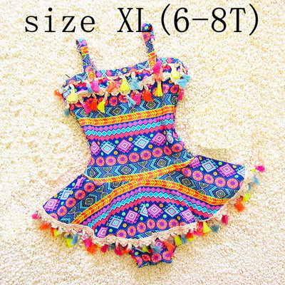 Tassel Baby Girl Clothes One Piece Kids Swimwear for Girls Print Lovely Children Swimsuit Summer Swimming Beachwear - ibootskids