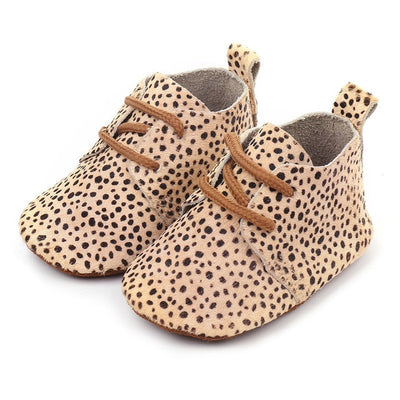 Genuine Leather Baby shoes Leopard print Baby Girls Soft shoes Horse hair Boys First walkers Lace Baby moccasins - ibootskids