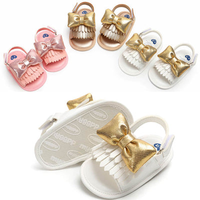 Summer Clogs For Girls faux leather butterfly sandals white shoes bowknot baby children's Tassels Scandal children's shoes - ibootskids