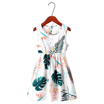 New Mother Daughter Summer Dresses Sleeveless Floral Beach Dress Mom and Daughter Dress Family Matching Outfits Clothes - ibootskids