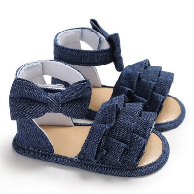 Denim Cloth Baby Girls Sandals Newborn Baby Shoes Summer Toddler Sandals Lace Bowknot Girls Shoes - ibootskids