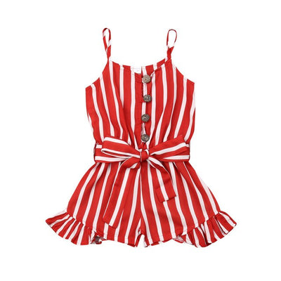 3-8Years Kid Girls Striped Jumpsuit Summer Girls Sleeveless Overalls Playsuit Children Costumes Red Black Blue - ibootskids