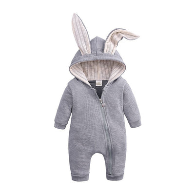 Cartoon Bunny Baby Hoodie Outfits Rompers Cotton Zipper Baby Rompers Spring Autumn Newborn One-Pieces Infant Costume 3-24 Months - ibootskids