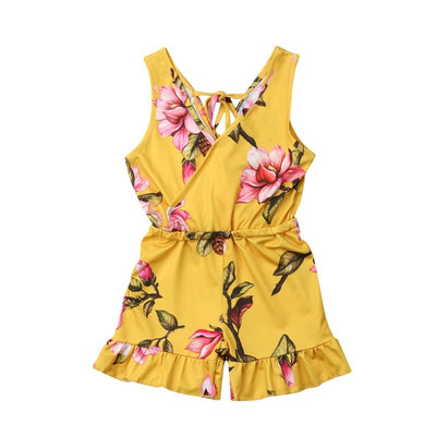 1-6T Summer Baby Girl Sleeveless Floral Romper Jumpsuit Toddler Kids Casual Overalls Playsuit Girls Outfit Clothes - ibootskids