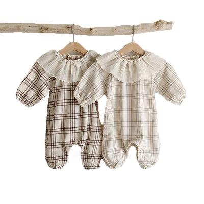 2020 New Spring Baby Romper Boys Plaid Jumpsuits Lotus Leaf Collar Sweet Girls Romper Infant Baby Outfit - ibootskids