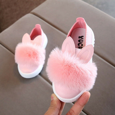 Fashion Baby Shoes Cute Animal Rabbit Pattern Plush Anti-slip Soft Sole Baby Shoes Fluffy Cartoon Infant Toddler Girl Footwear - ibootskids