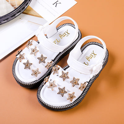 Summer Girls Sandals Korean Style Little Princess Soft Bottom Beach Shoes 2-8 yrs Baby Sandals Five-pointed Star - ibootskids