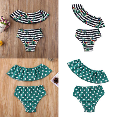 Newborn Kids Baby Girls 6M-4T Bikini Sets Wave Point Oblique Shoulder Swimsuit Swimming Costume - ibootskids