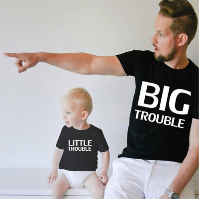 Big trouble and Little trouble letter print Family Matching Father Son Kids Clothes Baby boy Father and girl Family Look Clothes - ibootskids