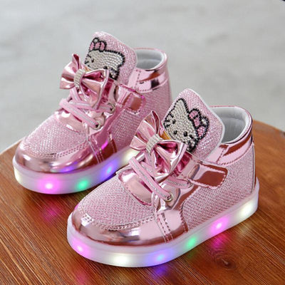Children Shoes New Spring Hello Kitty Rhinestone Led Shoes Fashion Girls Princess Cute Shoes With Light - ibootskids