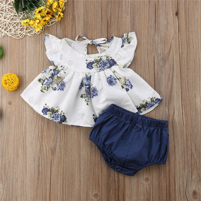 Baby Girls Clothes Set Infant Clothing Summer Floral Round Neck Tops Harem Shorts Girl Casual Cotton Cute 2PCs Newborn - ibootskids