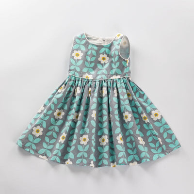 Summer Fashion Kids Dresses for Girls Sleeveless printing Dress Children costume Baby Girls Clothes 3 4 5 6 7 8 9years old - ibootskids