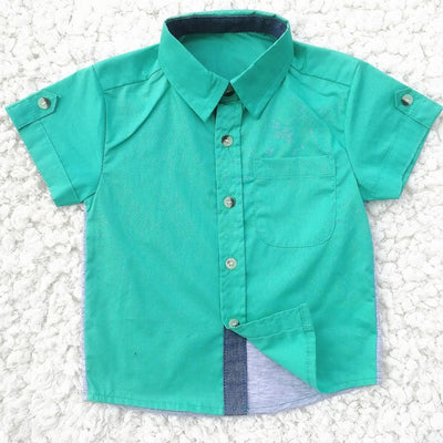 New Boys Short Sleeve Classic Plaid Lapel Children Shirts Tops with Pocket Baby Boy Casual Shirt Kids Clothing - ibootskids