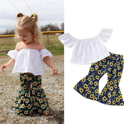 Children Sunflower Print Clothes Set Toddler Girls Suits Kid Top T-shirt + Flared Pants Leggings Clothes Outfit Set - ibootskids