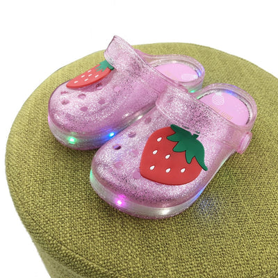 Girls Sandals with LED Light Fruit Stawberry Cute Pineapple Kids Soft Shoes Europe Size 25-35 Luminous Beach Slipper - ibootskids