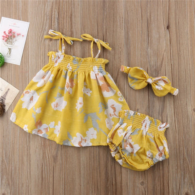 Newborn Baby Girls Clothes Set Clothing Summer Sleeveless Yellow Floral Tops Bottom Headband Girl Cotton Outfits 3PCs - ibootskids