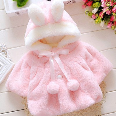 Baby Girls Coat Winter Spring Baby Girls Princess Coat Jacket Rabbit Ear Hoodie Casual Outerwear for girl  Infants clothing - ibootskids