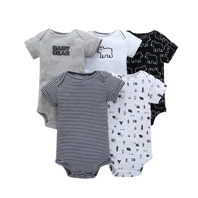 cartoon monster baby bodysuit newborn boy girl clothes new born short sleeve onesie cotton unsisex body clothing 2020 5PCS/SET - ibootskids