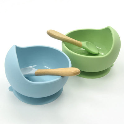 Baby Silicone Feeding Set  Wooden Spoon - ibootskids