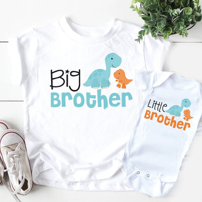 Big Brother Little brother siblings matching Shirts  Personalized  dinosaur tops big brother little brother matching outfits - ibootskids
