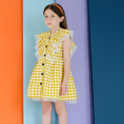 new princess plaid dress lace patchwork hit color button dress for children kids clothes 1-8Y - ibootskids