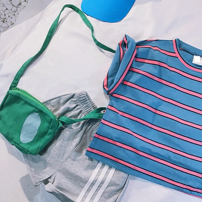 Teenager T-Shirt Baby Girl Tops Summer Short Short Sleeve Round Neck Striped Loose Toddler Boys T Shirt Pocket Clothes - ibootskids