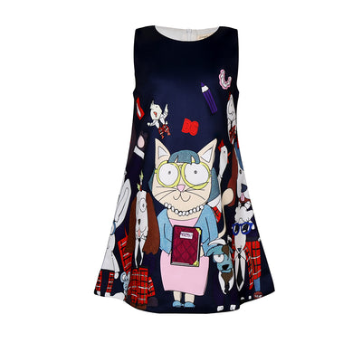 Girls Christmas Dress Cartoon Printed  Dresses For Girls Santa Claus Printed Dress Clothes - ibootskids