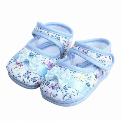 Infants Shies Baby Kids Bowknot Flower Printed Prewalker Cotton Fabric Shoes - ibootskids
