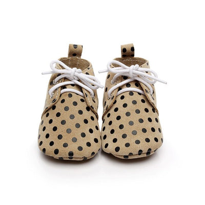 Handmade Cheetah horse hair Lace Up Genuine Leather Dot Suede soft sole shoes baby Toddler Baby moccasins leather baby shoes - ibootskids