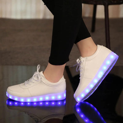 UncleJerry Size 31-46 USB chargering Led Shoes for kids & adults Light Up Sneakers for boys girls men women Glowing Party Shoes - ibootskids