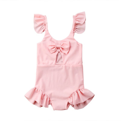 Bathing Children's Swimsuit Pink Bowknot Baby Girls Lovely Swimwear Beach Clothes One-piece Baby Swimsuit Swimwear For Girls - ibootskids