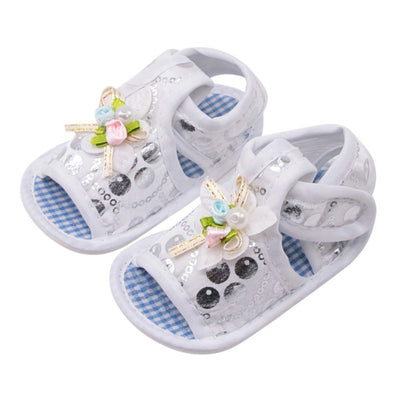 Summer Canvas Baby Shoes Baby Girl Hollow Plaid Soft-Soled Princess crib shoes Star heart floral insert prewalkers - ibootskids