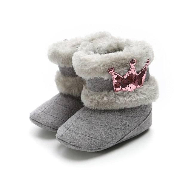 Crown Fur Mid Calf Length Slip On Furry Boots - ibootskids