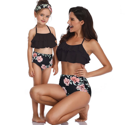 Mother Daughter Swimwear Mom Girls Summer Bikini Bathing Swimsuits Family Matching Clothes High Waist Swimming Suit Print Flower - ibootskids