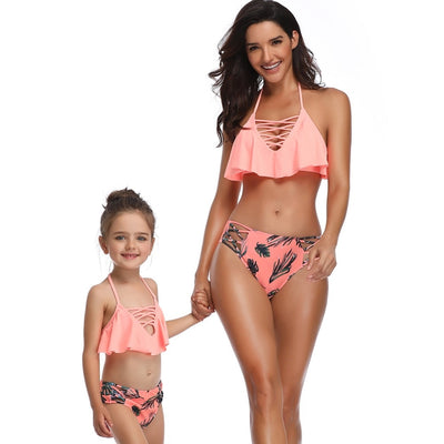 Cute Summer Sexy Bikini Set Mother Daughter Bandage Family Match Clothing Beach Sports Swimsuit Leaf Print Halter Bathing Suit - ibootskids
