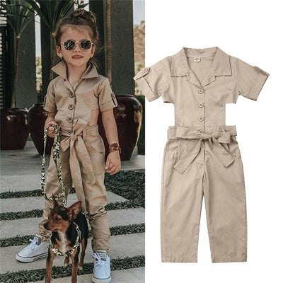 Fashion Toddler Baby Kid Girl England Style Jumpsuit Kids Summer Short Sleeve Show waist Overalls Trousers Casual Loose Jumpsuit - ibootskids