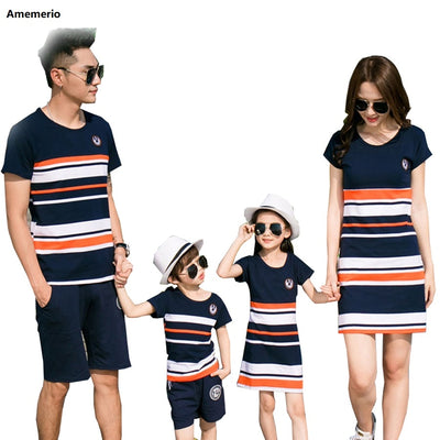 Summer Striped T-shirt Outfits Mother And Daughter Dresses And Father Son Baby Boy Girl Family Matching Family Outfits - ibootskids