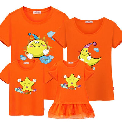 T-shirt for family father son mother daughter baby girl boy Dresses couple outfits sun moon star kids Matching family Outfits - ibootskids
