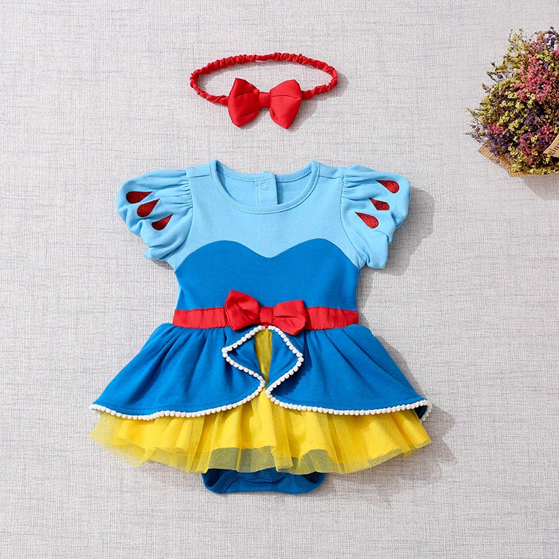 Newborn Baby Romper Cartoon Baby Clothes Mermaid Snow White Baby Girl Romper Jumpsuit 1st Birthday Princess Baby Costume Clothes - ibootskids