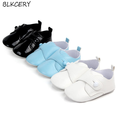 Newborn Baby Boy Shoes Toddler Leather Moccasins First Walker Casual Buttons Loafers Infant Solid Shoes for Learning Walking - ibootskids
