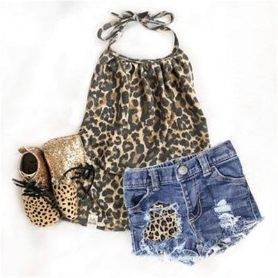 2Pcs set Newborn Kids Baby Girls Leopard Print Sleeveless Halter Tops and Hole Jeans Shorts Outfits Clothes set - ibootskids