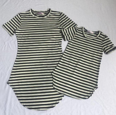 Mother Daughter Dresses Cotton Family Look Mom and Daughter Clothes Casual Family Matching Clothes Stripe Mommy And Me Clothes - ibootskids