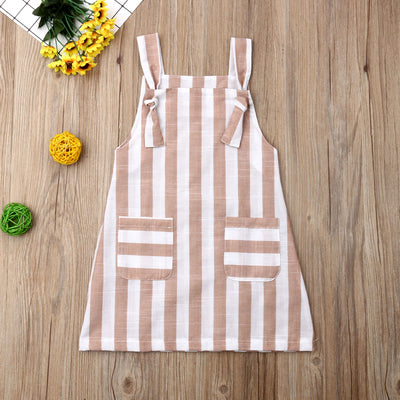 Summer Toddler Baby Girl Clothes Sleeveless Striped Strap Dress Casual Pockets Summer Sundress - ibootskids