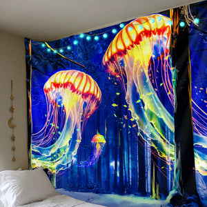 Glowing Jellyfish Tapestry