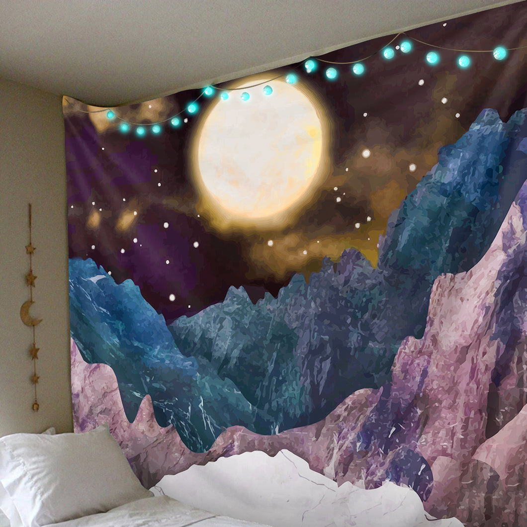 Moonlit Mountains Tapestry