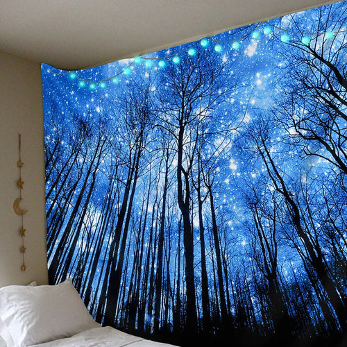 Glowing Forest Tapestry tapestry Trippy Tapestry