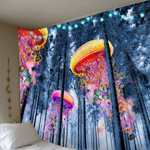 Jellyfish Forest Tapestry tapestry Trippy Tapestry