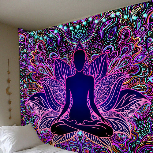 Psychedelic Lotus Tapestry tapestry Trippy Tapestry